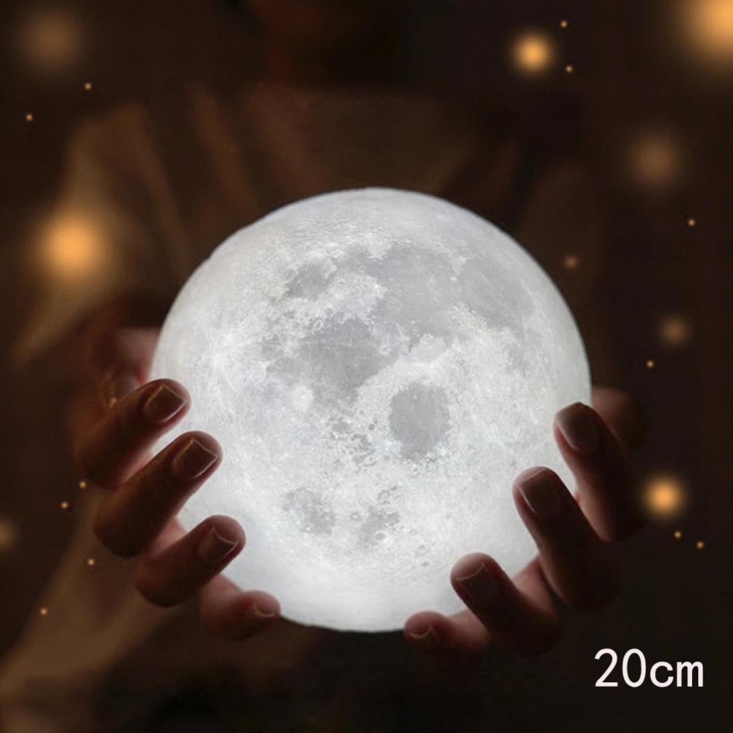 Sikye 3D Magical Moonlight,USB LED Night Light Table Desk Lunar Lamp Room Decor with Stent Best Gift (20cm)
