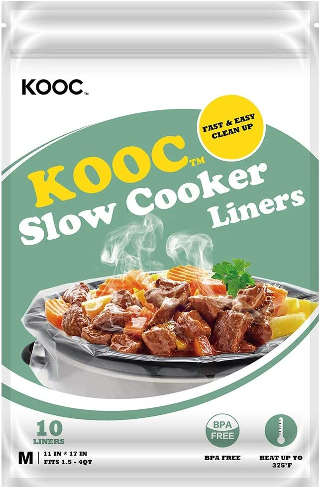 [NEW] KOOC Disposable Slow Cooker Liners and Cooking Bags, 1 Pack(10 Counts), Regular Size Crock Pot Liners Fit 1.5 - 4QT, 11