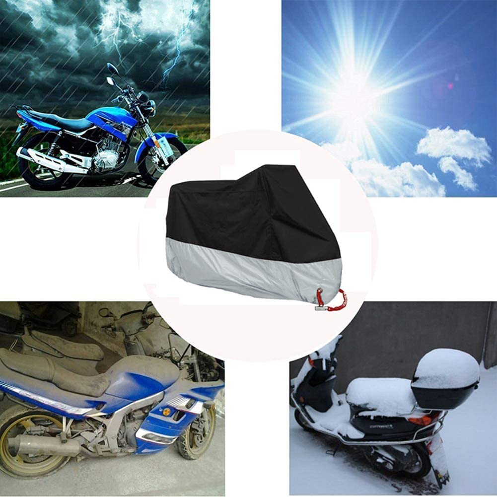 MOOHOP Univeral Motorcycle Cover Heavy Duty Shelter 6 All Season Waterproof Sun Outdoor Protection Scooter Cover With Lock Holes Tear-Proof Heavy-Duty Revent Sun,Uv Rays,Heat Damage
