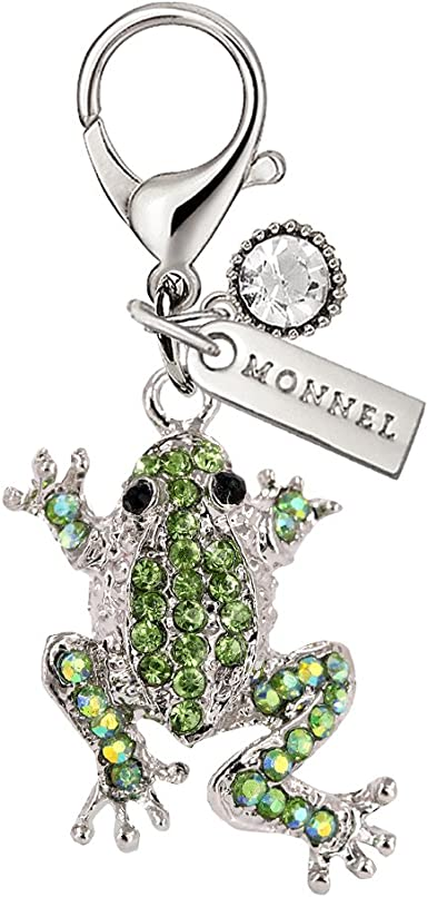 Monnel Cute Bling Bling Green Crystal Frog Animal Lobster Clasp Charms Pendants with Pouch Bag For Christmas Gifts (1 piece) MC43