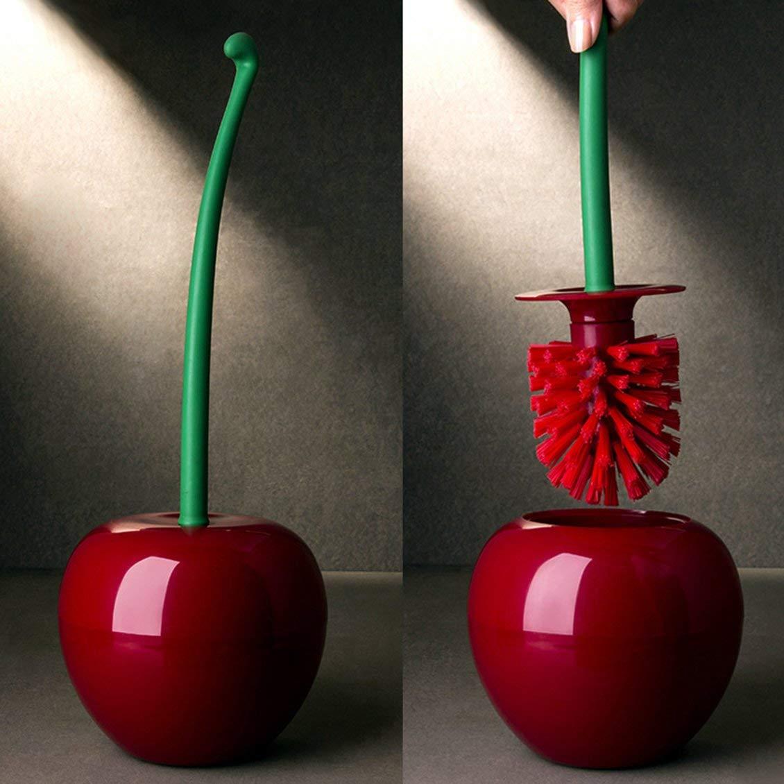 ForceSthrength Creative Lovely Cherry Shape Lavatory Brush Toilet Brush /& Holder Set