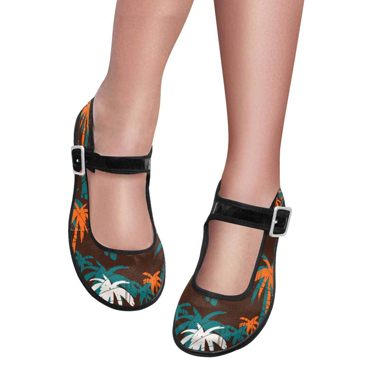 INTERESTPRINT Womens Satin Mary Jane Flats Ballet Shoes Colorful Exotic Palm Trees