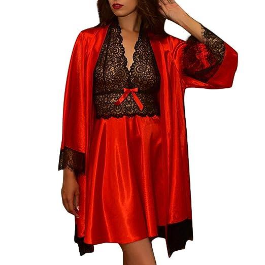 f93f1d80b43 Women Sexy Silk Satin Robe Camisole Pajama Dress 2 Pcs Set Lace Sleepwear  Nightdress V Neck Nightgown at Amazon Women s Clothing store