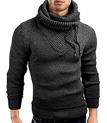 Male Stand Cowl Neck Sweater Ribbed Long Sleeve Turtleneck Pullover Knitted Sweater with Drawstring Dark Grey by Ferbia