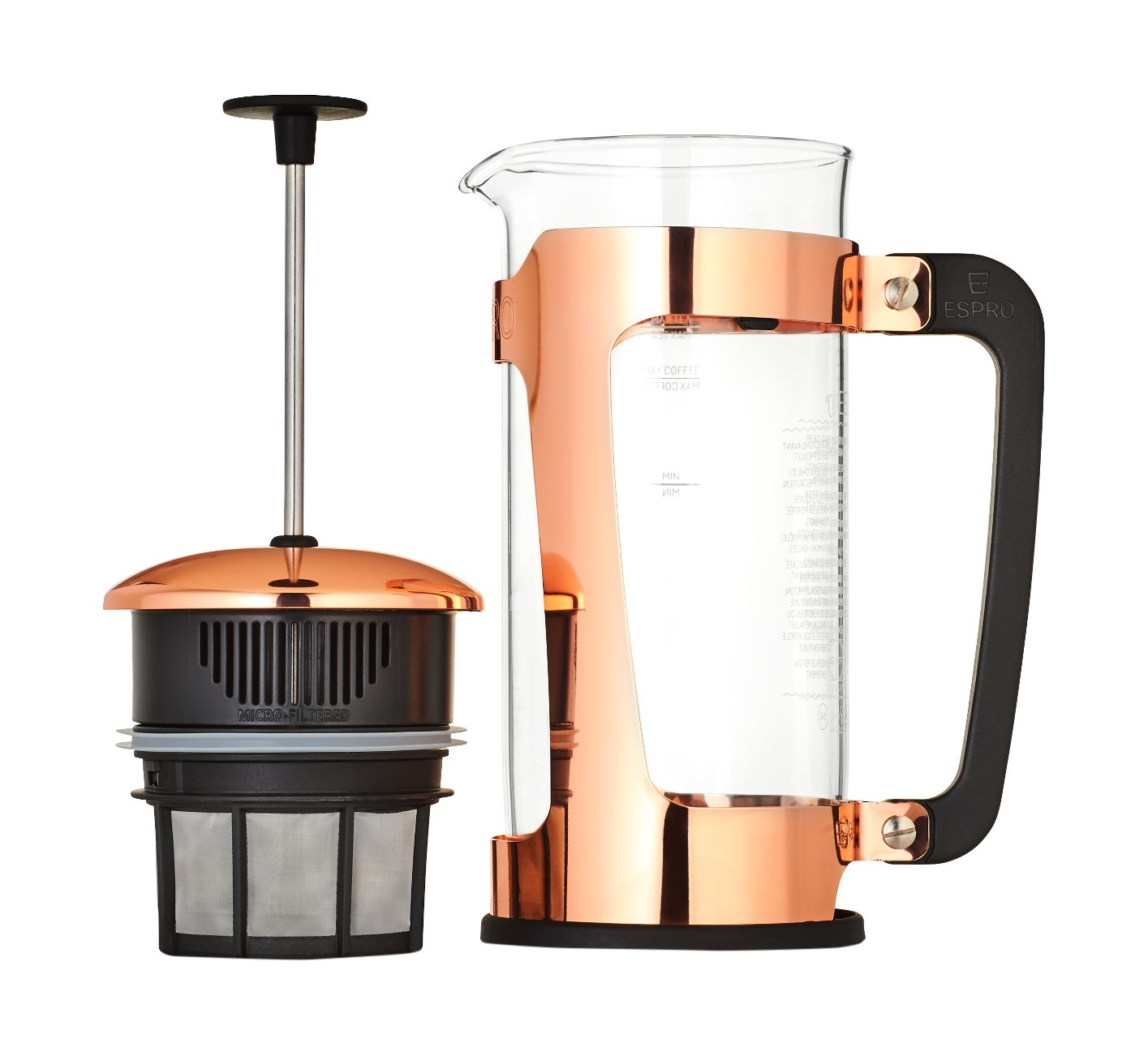 Espro Coffee Press P5-18 oz, Glass Carafe and Copper Coated Cage, FFP by Espro
