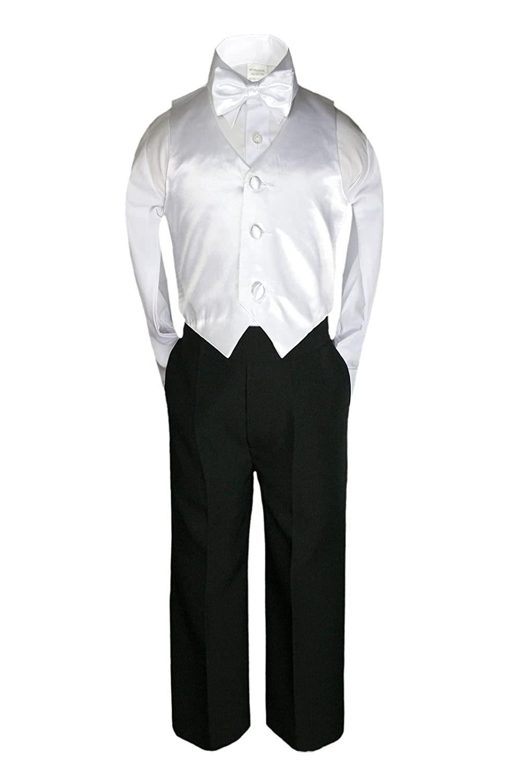 Unotux 7pc Formal Boy Black White Suit Tuxedo Bow Tie Vest Set S-20