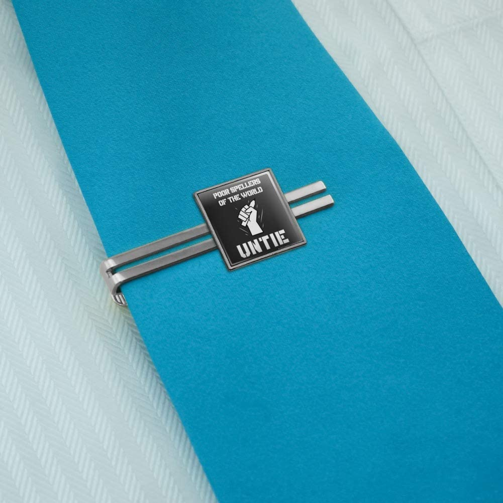 GRAPHICS /& MORE Poor Spellers of The World Untie Unite Funny Humor Square Tie Bar Clip Clasp Tack Silver or Gold