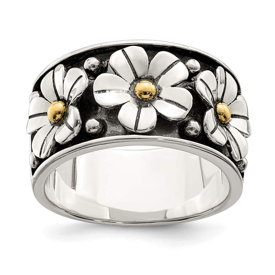 118851ad1 Amazon.com: 925 Sterling Silver 14k Gold Centers Daisy Band Ring Flowers/leaf  Fine Jewelry For Women Gift Set: Jewelry