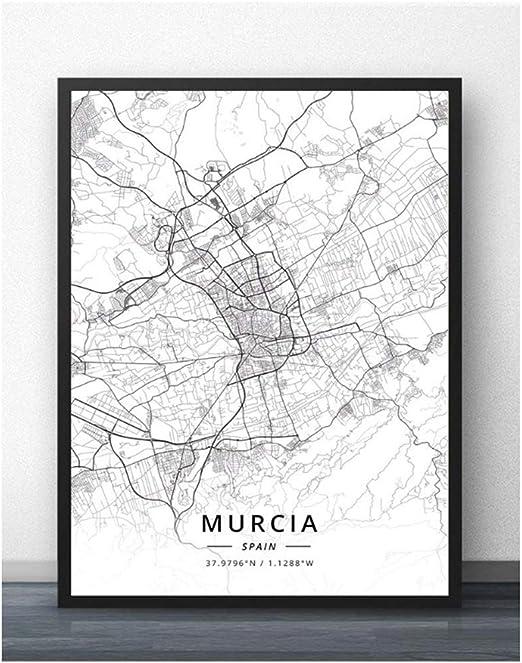 Murcia Oviedo Vigo Zaragoza España Mapa Viaje Ciudad Cartel Pintura Arte Cartel Imprimir Lienzo Decoración para el hogar Cuadro Impresión de la pared-50x70cm Sin marco: Amazon.es: Bricolaje y herramientas