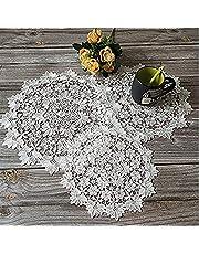 3 stycken runda broderade bordsmattor, rund bordsmatta i vit spets, spetslock virkade lock, lämplig för koppar, drycker, skålar, krukor, tallrikar, vaser, antika dukar, 25 cm