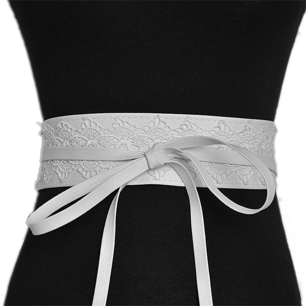 Women's Soft Leather with Lace Waist Belt Bow Tie Wrap Around Boho Corset Fashion Elegant for Dresses (White) by Hello My Life&Apparel (Image #1)