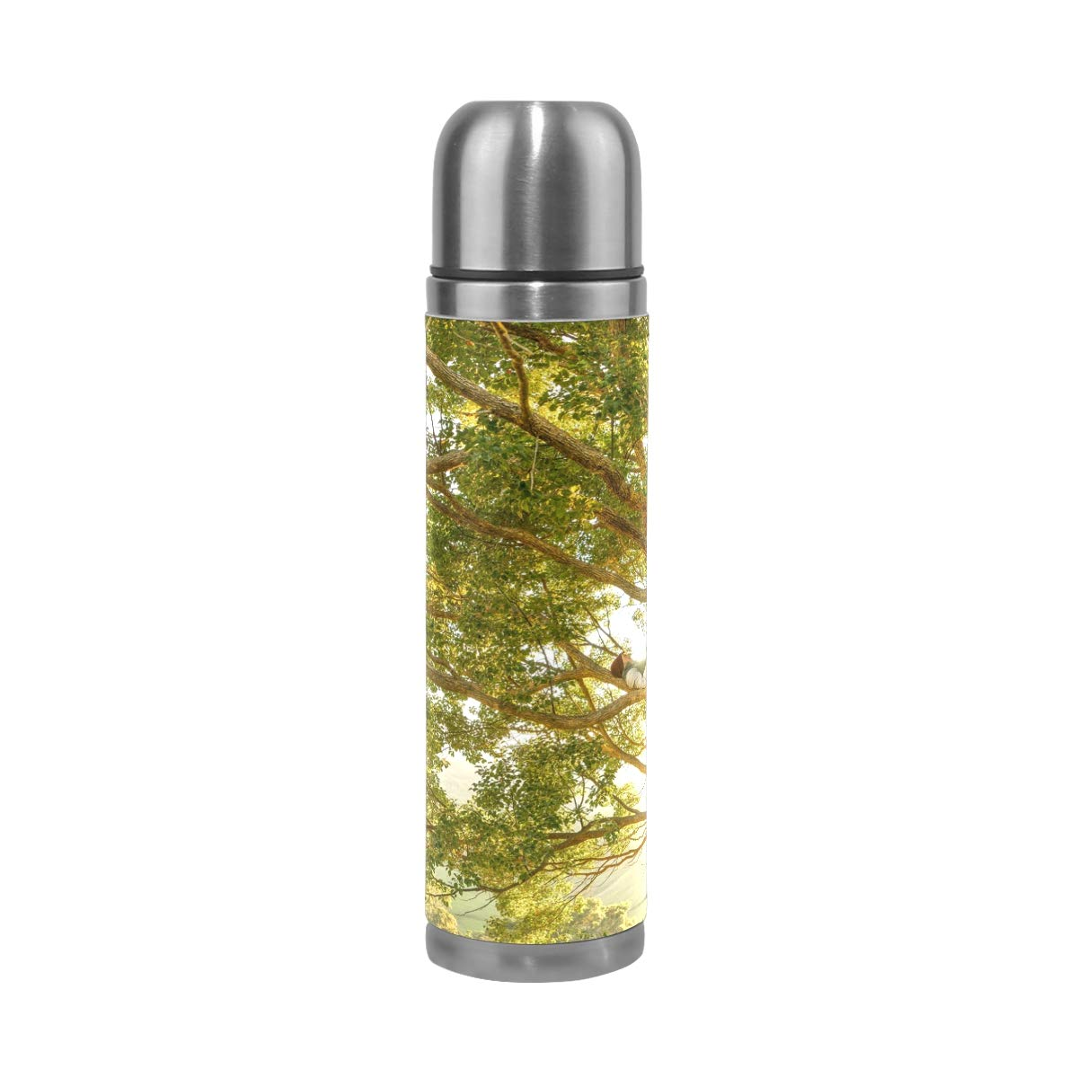 Tree Branch Plant Wood Countryside Sunlight 500ML Stainless Steel Double Walled vacuum insulated water bottle Travel Mug Leather Cover Thermos 17 oz