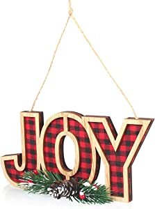 Christmas JOY Wooden Sign, Rustic Hanging Sign for Holiday Decoration, Sign Ornament for Christmas Tree, Door, Wall, Window Decor, for Xmas, Christmas Eve, New Year, Winter Holiday, and Home Decor