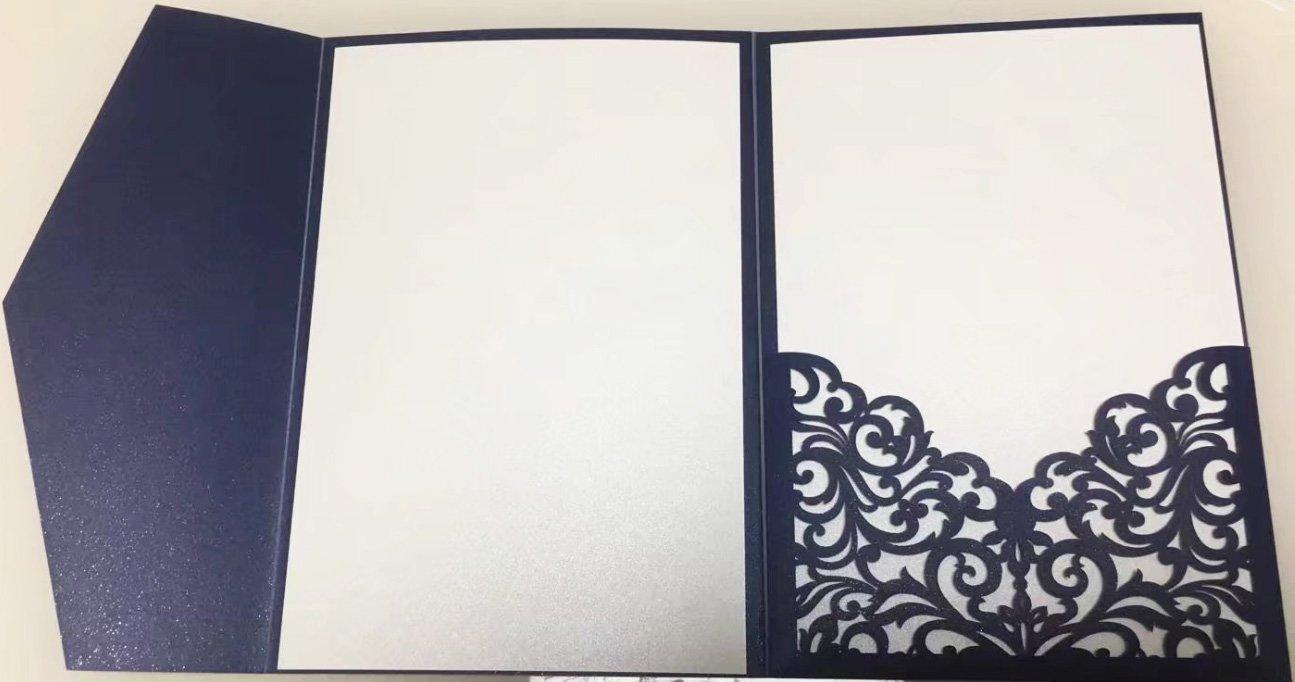 827ffffdba 25 sets Pearl White/Ivory/Pink/Navy Blue/Burgundy paper Tri Fold Vertico  pocket Laser Cut Vine Wedding Invitations Cards Hollow Carving Greeting ...