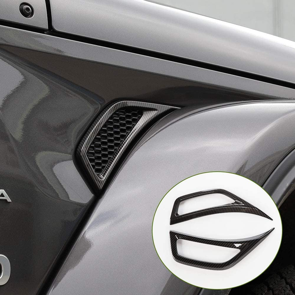 RT-TCZ Air Conditioning Vent Outlet Decoration ABS Trim Cover Sticker for Jeep Wrangler JL JLU 2018 2019 2020 for Jeep Wrangler Accessories(Carbon Fiber)