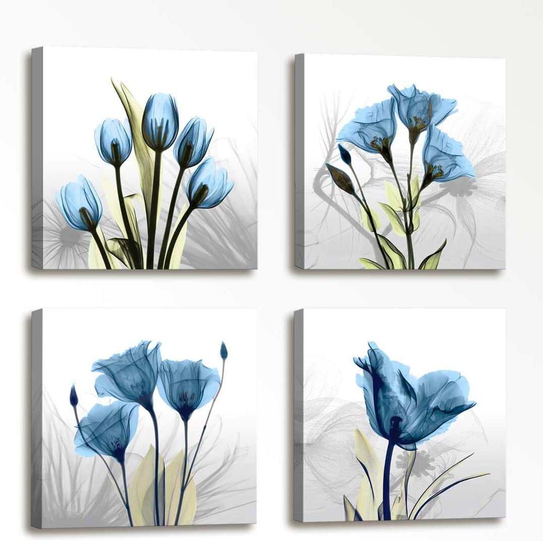 Wall Decorations for Living Room Floral Composition - 4 Panels Blue Elegant Tulip Flowers Painting Canvas Prints Modern Large Canvas Artwork Framed Wall Art for Bedroom Home Decor 16x16 inch 4pcs/Set