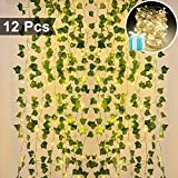 Lvydec Artificial Ivy Garland Fake Plants 84 Ft 12 Pack Hanging Vines Plant Leaves Garland with 100 LED String Lights, Fake Greenery Decor for Home Garden Office Wedding Wall