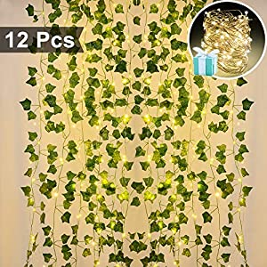 Lvydec Artificial Ivy Garland Fake Plants 84 Ft 12 Pack Hanging Vines Plant Leaves Garland with 100 LED String Lights, Fake Greenery Decor for Home Garden Office Wedding Wall 64