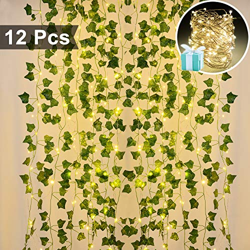 Lvydec Artificial Ivy Garland Fake Plants 84 Ft 12 Pack Hanging Vines Plant Leaves Garland with 60 LED String Light, Fake Greenery Decor for Home Kitchen Garden Office Wedding Wall