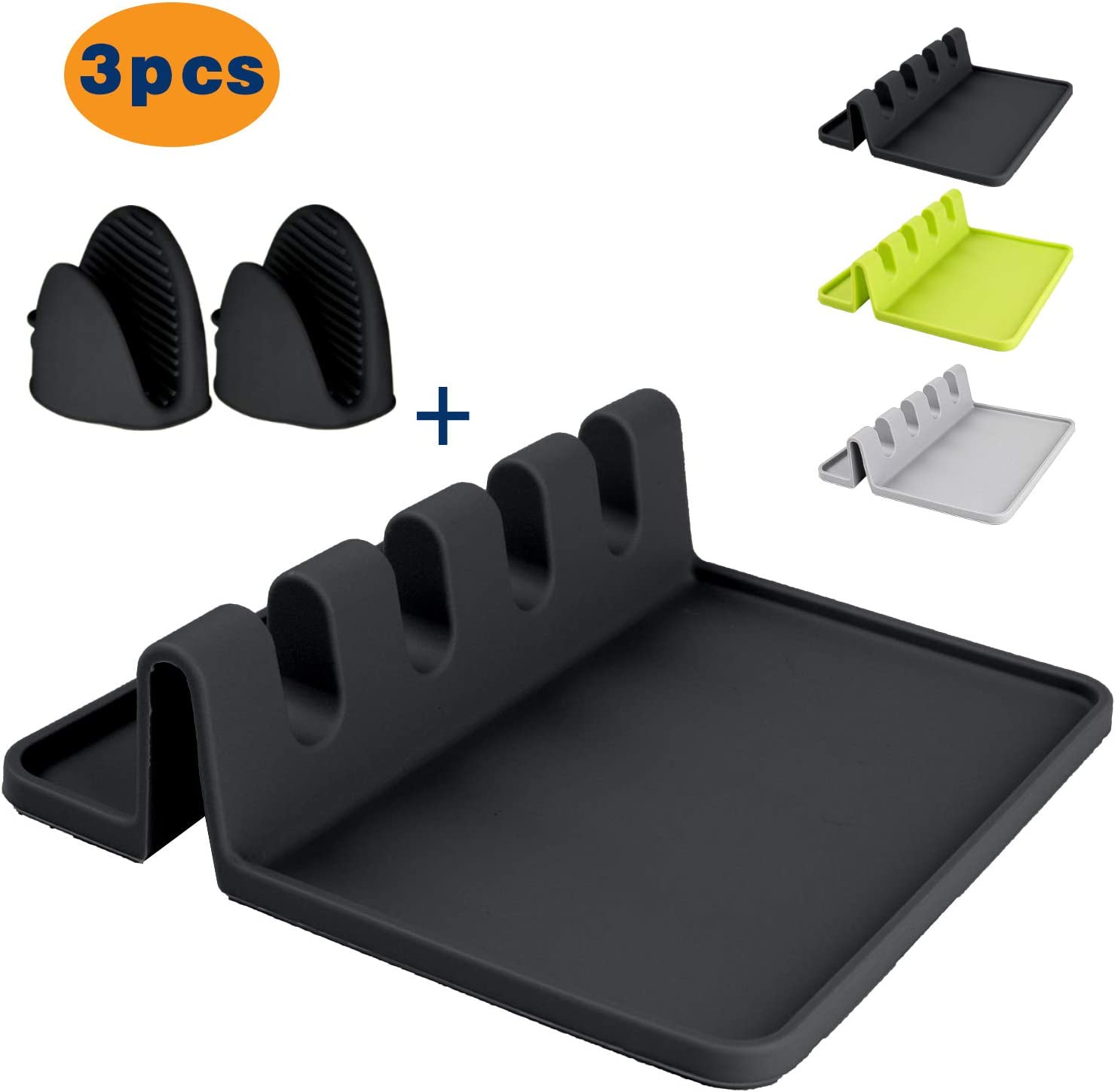 Spoon rest and Oven Mitts set, Kitchen Utensil Rest Heat-Resistant mitts, BPA-Free Spoon Rest & Spoon Holder for Stove Top, Kitchen Utensil Holder for Spoons, Ladles, Tongs (Black color)