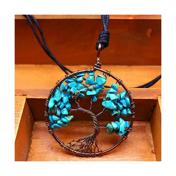 APURSUE Tree Of Life Pendant Necklace with 2 Chains + 2 Waxed Cotton Cord, Nature Stone Handmade Amethyst Crystal Necklace Gemstone Chakra Jewelry Women Valentine's Day Mothers Day Gift Women Girls