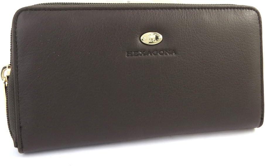 Gran billetera de cuero con cremallera 'Hexagona'de color marrón oscuro (vaqueta lisa).