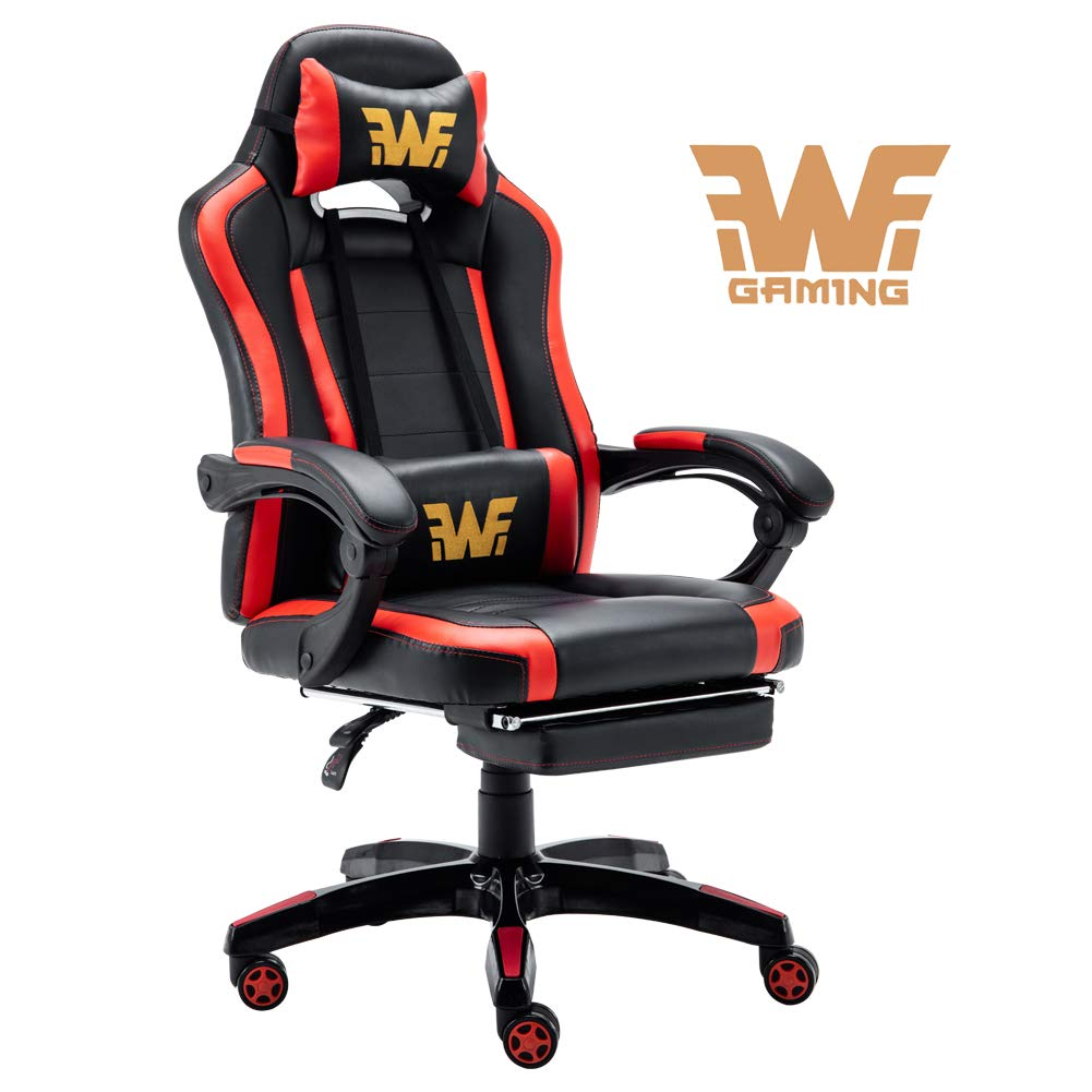 Big and Tall Gaming Chair- Video Game Computer Chair with Footrest, PU Leather, 350 LBS Black Red