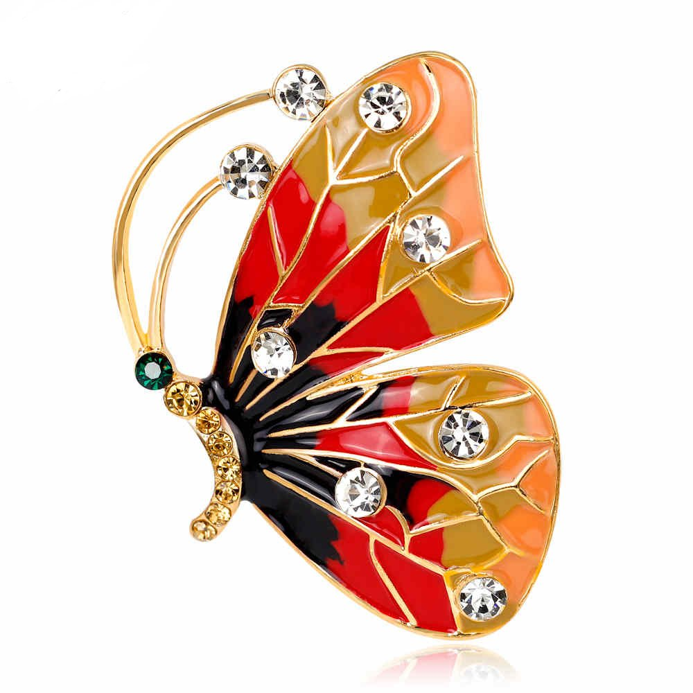 AOCHEE Colorful Butterfly Crystal Rhinestones Enamel Paint Pearls Brooch Lapel Pin Jewelry for Women Girls (2)