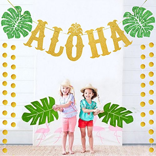 TMCCE Luau Decorations Party Ideas Aloha Banner Sign with 2 Pcs Circle Garland for Summer Beach Hawaiian Party Supplies, Gold Glittery ()