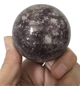 Mystical Love Crystals Lovely Lepidolite Sphere 54mm (229 g) Purple Fung Shui Home Decor Chakra Reiki Healing Stones