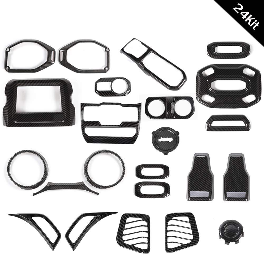 RT-TCZ Carbon Fiber Interior Decoration Trim Kit,Trim for 2018 Jeep Wrangler JL Unlimited (24PCS) by RT-TCZ (Image #6)