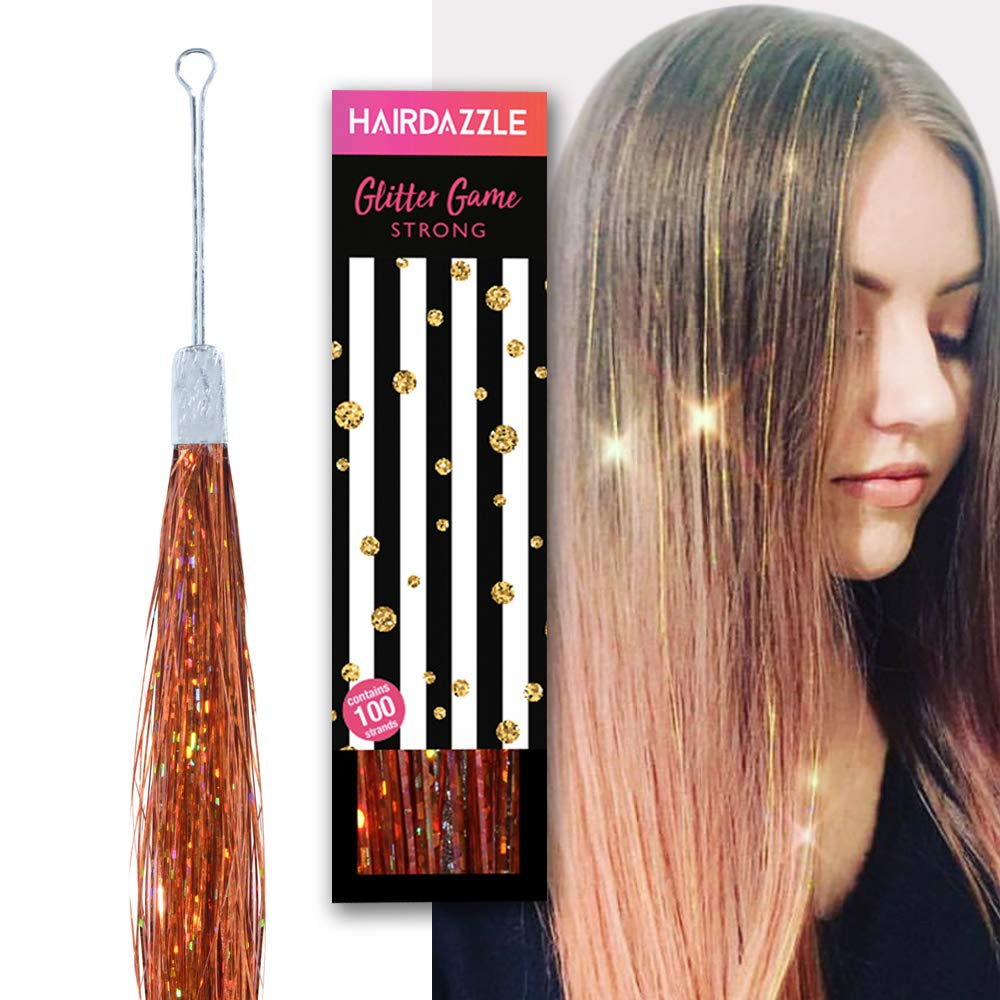 Rose Gold Hair Tinsel Glitter Strands (100) , Hair Dazzle , Professional  Sparkle Heat,Resistant Silk Extensions, Easy to Apply, Hair Accessories for