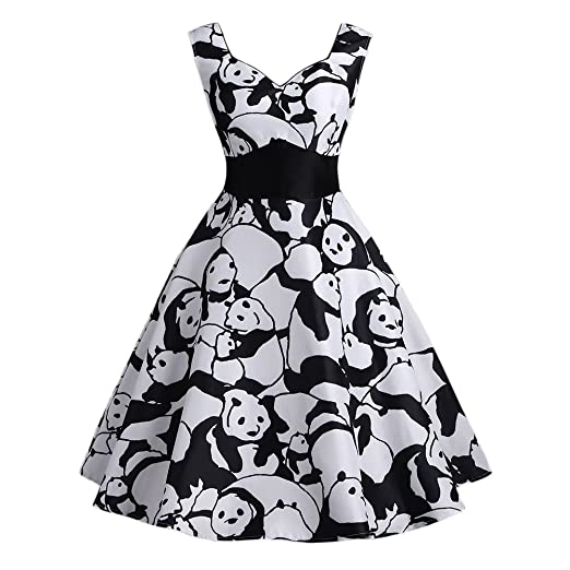9cab6f35f4 Clearance Women Dresses On Sale Vintage Panda Printed Cocktail Party Evening  Swing Dress Beach Sundress for