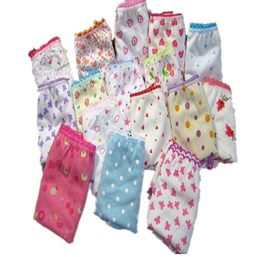 Adiasen Big Girls Cute 3 Packs Cotton Underwear Briefs Hipster Mixed Color