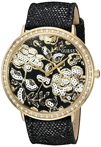 GUESS Women's U0820L1 Trendy Gold-Tone Watch with Gold Dial , Crystal-Accented Bezel and Genuine Leather Strap ()