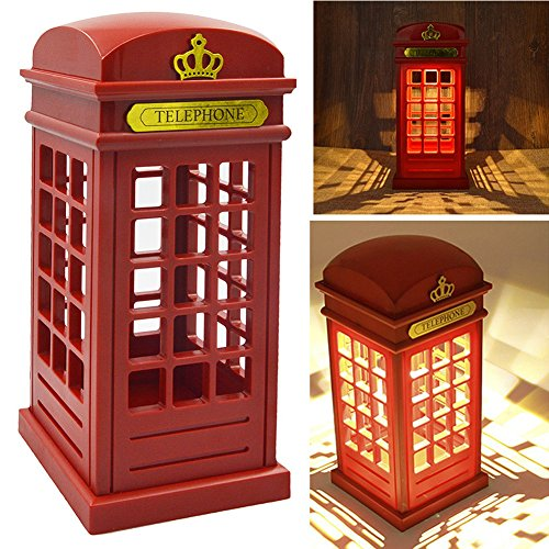 TwoS Vintage London Telephone Booth Night Lamp USB Charging LED Night Lamp Touch Dimmable Table Desk Light