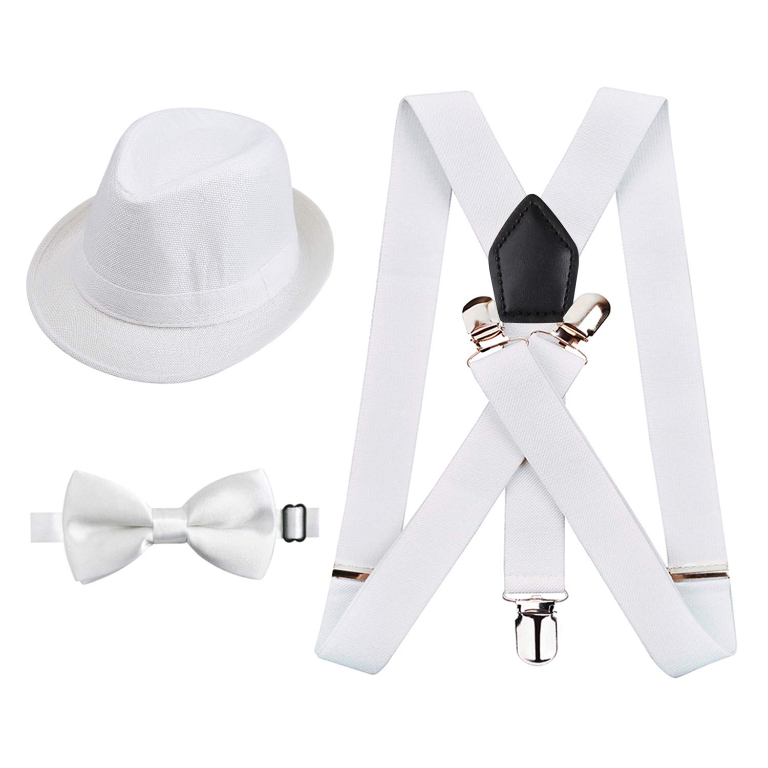 Black-White tie Alizeal Kids Elastic Clip Suspenders with Pre-tied Bow tie and Hat Set
