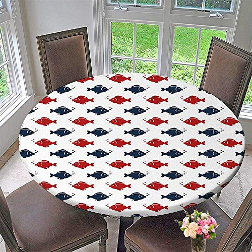 Mikihome Simple Modern Round Table Cloth Small Fishes Swimming Bubbles Symmetrical Underwater Aquarium Design Navy Blue Red White for Daily use, Wedding, Restaurant 55