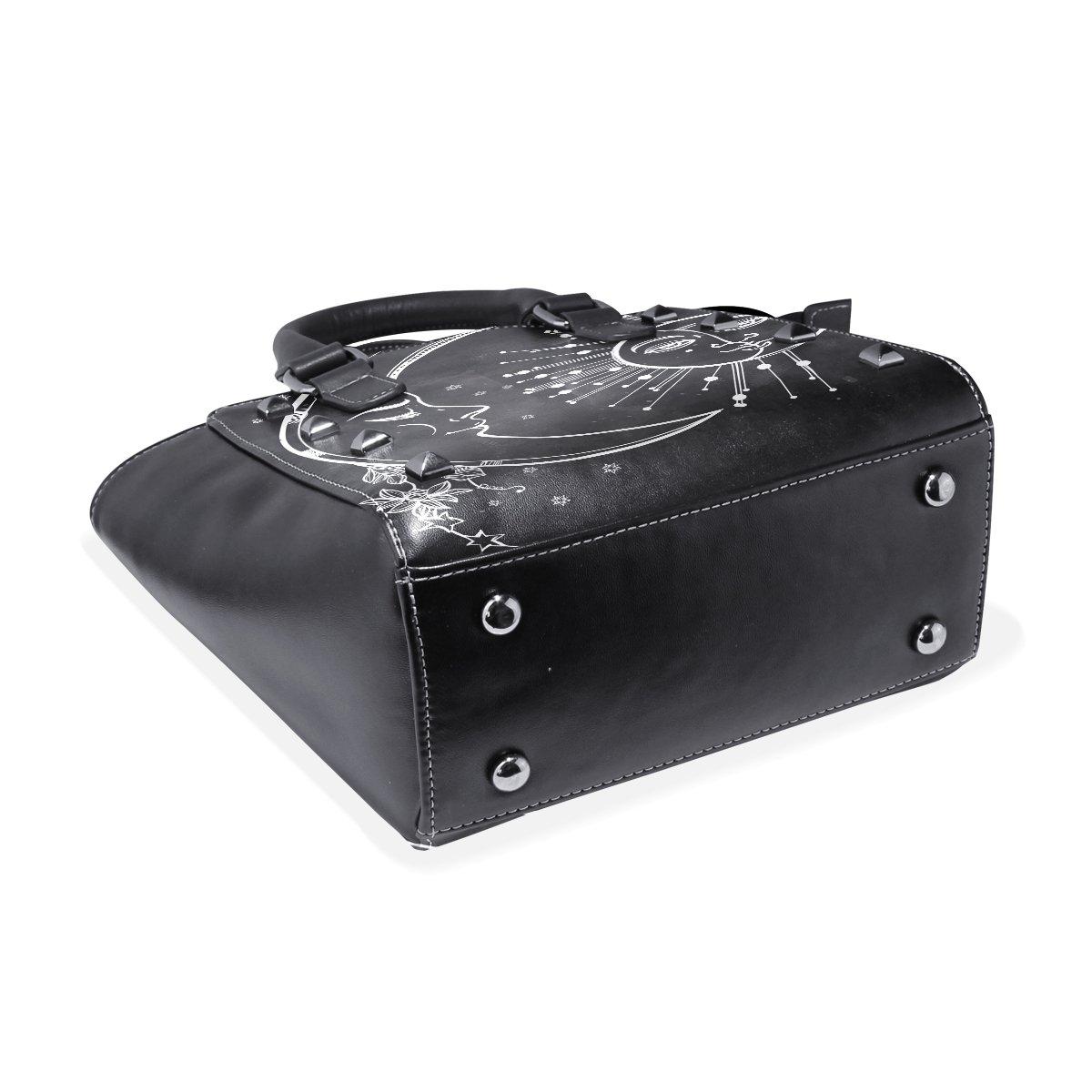 Use4 Womens Black Moon Sun Star Flower Rivet PU Leather Tote Bag Shoulder Bag Purse