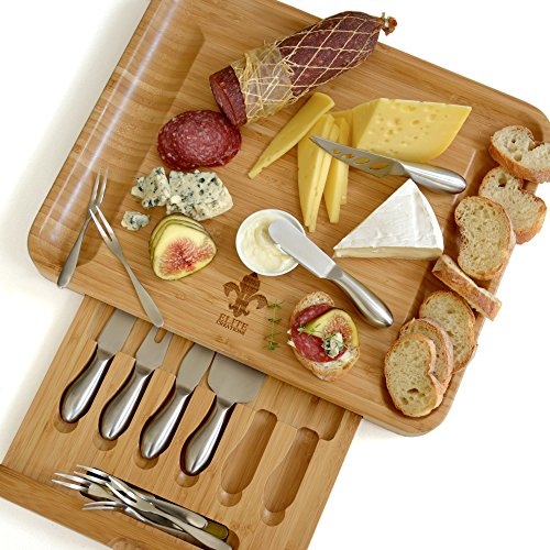 Deluxe cheese board & utensils gift set – extensive serving set - large 100% bamboo board & 6 stainless steel cheese knives & 6 appetizer forks by elite creations (silver) (Stainless Steel Cheese Knife)