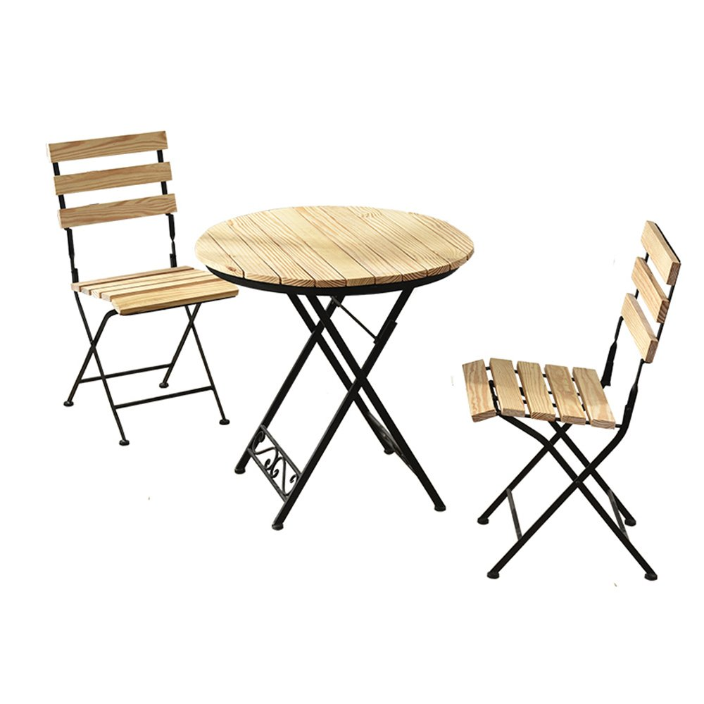 XIAOMEI 折り畳み木製の小さな丸いテーブルバルコニー小さなコーヒーテーブルカジュアル屋外テーブルと椅子の組み合わせ - 70 * 75センチメートル (色 : Table+2 chairs)  Table+2 chairs B07FLVZYYJ