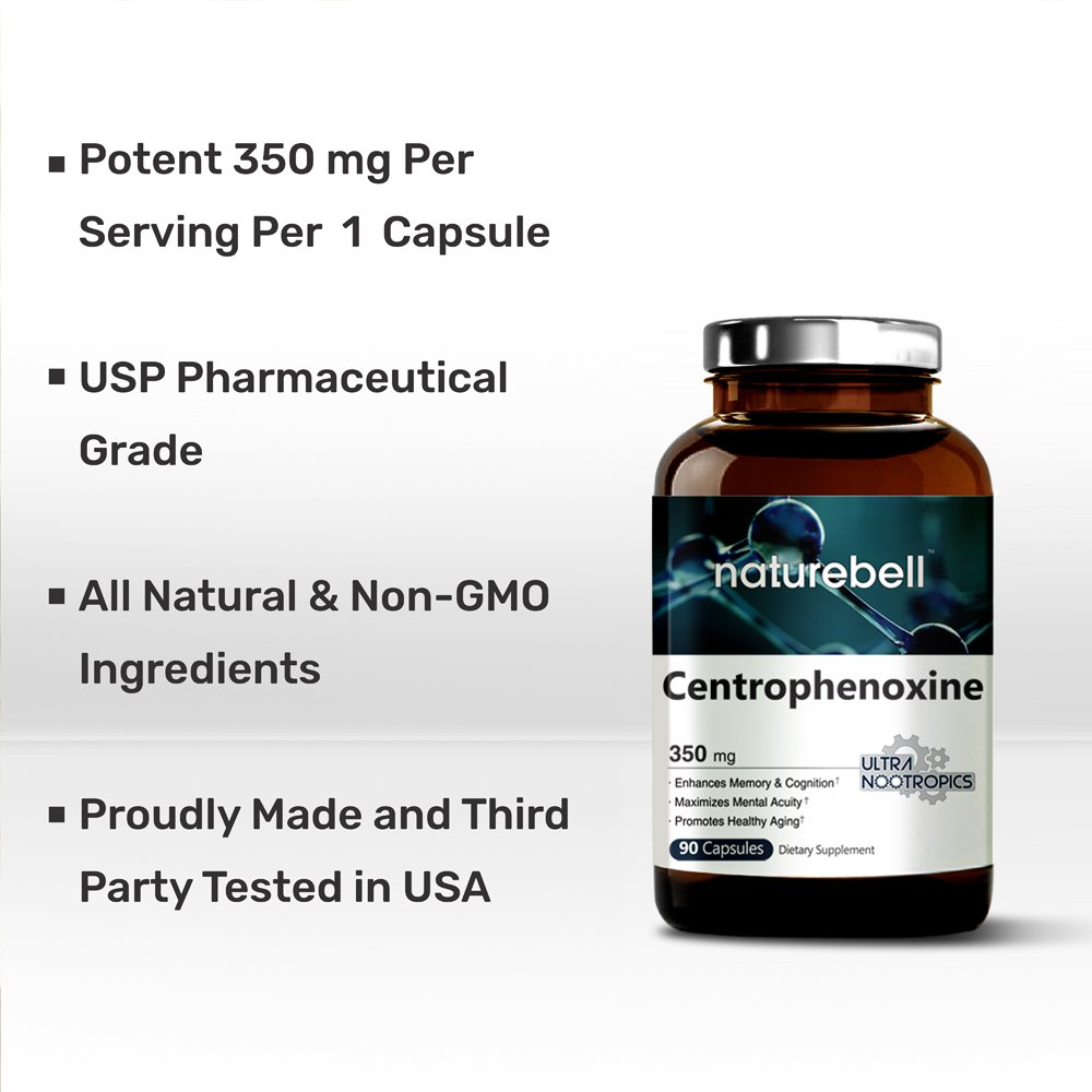 Ultra Centrophenoxine 350 mg, 90 Capsules, Strongly Supports Cognitive Health, Mental Clarity, Memory and Focus, Non-GMO and Made in USA by NatureBell