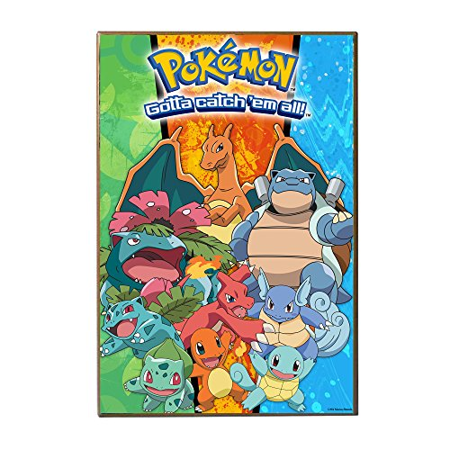 Silver Buffalo PK0736 Pokémon Gotta Catch 'Em All Starter Characters Printed Wood Wall Signs, 13 x 19 inches