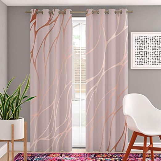 Amazon Com Trikptey Gold Rose Marble Curtains Rose Gold Marble Surfaces Elegant Abstract Line Glitter Luxury Blackout Grommet Window Curtains For Bedroom Living Room Set Of 2 Panels 2 Tiebacks Included 104 X96 Home