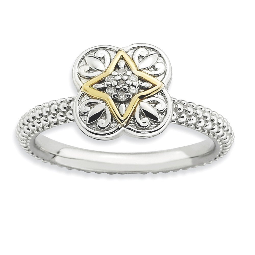 Diamond (I3, J-K 0.035 cttw) Size 5 - Diamond & 14K Accent Clover Sterling Silver Stackable Expressions Ring
