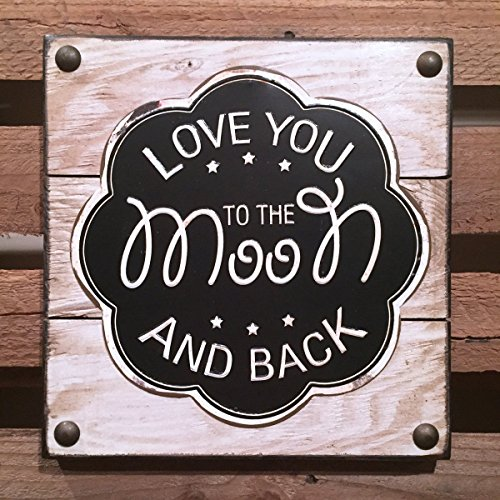 Reclaimed Wood Wall Letters (Love You to the Moon and back - CREAM - Reclaimed Wood Pallet Wall Picture Sign Nursery Decor * Black and White * Children's Room Decor Boy Girl)