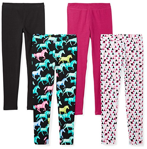 Spotted Zebra Girls' Little 4-Pack Leggings, Horses, Small (6-7) by Spotted Zebra
