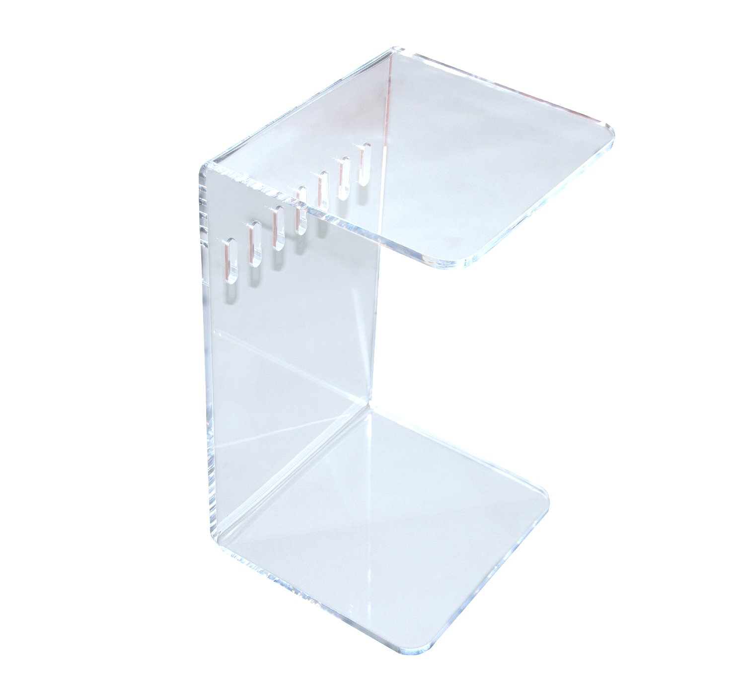 Combination of Life C-shaped 12mm Thick Acrylic Sofa Side Slide End Coffee Table Clear 58x35x31.8cm
