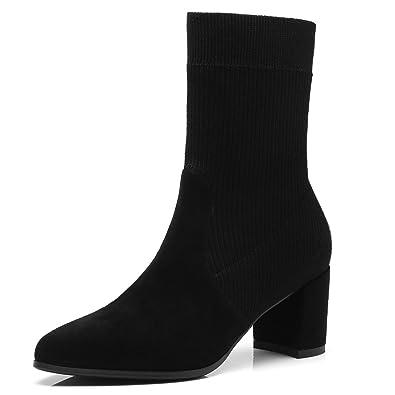 ANNIESHOE Stiefeletten Damen Knitting Wool Biker Boots Absatz Schwarz 36CN  35.5EU 23cm 2d31829db4