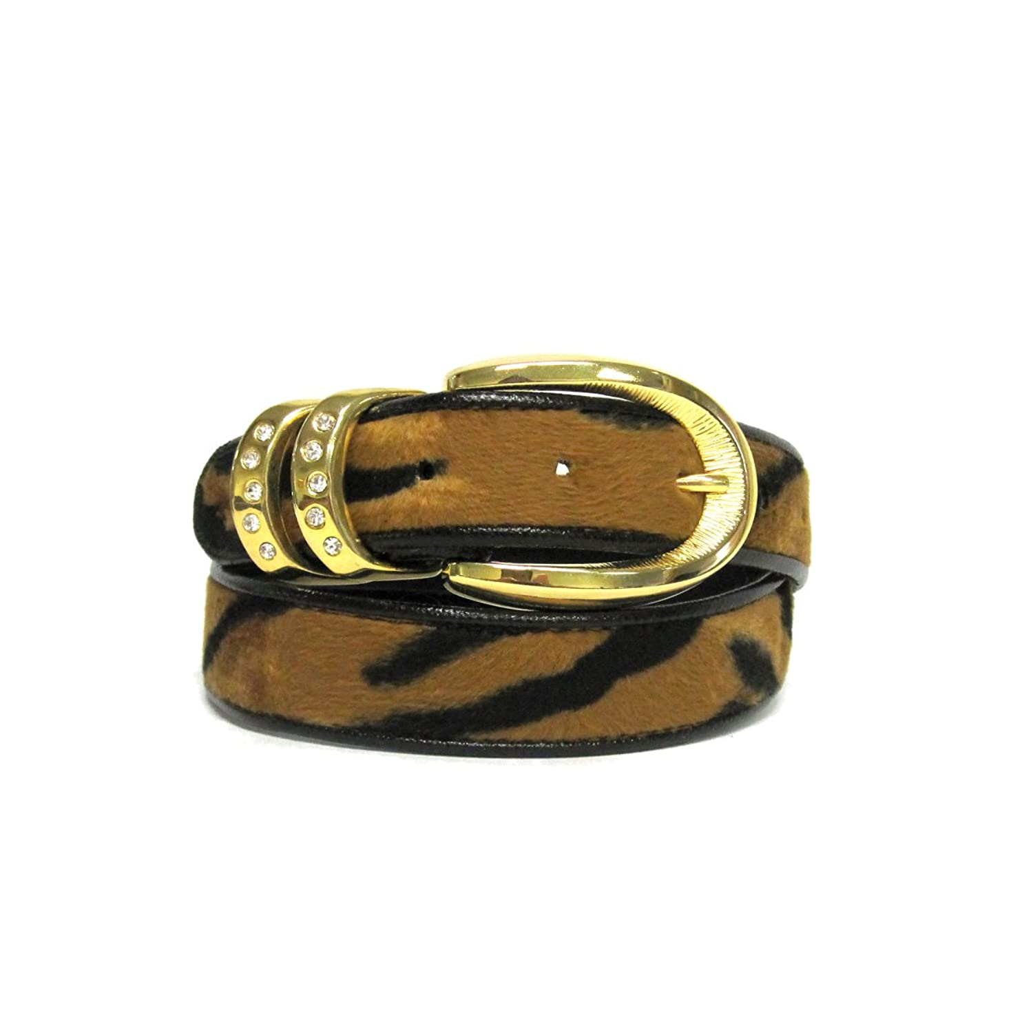 "1 1/8"" Women's Gold Buckle with Dual Keeper on Quality Tiger Faux Fur Leather..."